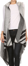 Sakkas Janeek Thick Warm Long Tapered Striped Multi Color Block Poncho Cape Wrap#color_White