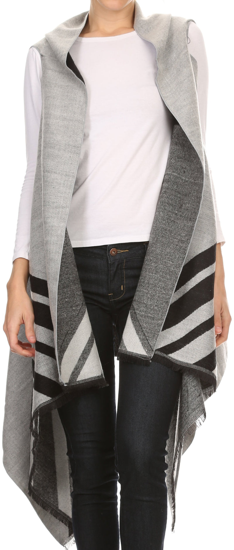 Sakkas Janeek Thick Warm Long Tapered Striped Multi Color Block Poncho Cape Wrap