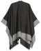 Sakkas Nila Women's Reversible Open Front Large Poncho Shawl Wrap Scarf Cape Ruana#color_black