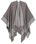Sakkas Nila Women's Reversible Open Front Large Poncho Shawl Wrap Scarf Cape Ruana#color_gray