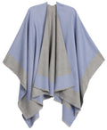 Sakkas Nila Women's Reversible Open Front Large Poncho Shawl Wrap Scarf Cape Ruana#color_skyblue