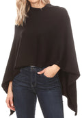 Sakkas Laurel Women's Super Soft Lightweight Cape Poncho Blanket Shawl Pullover#color_Black