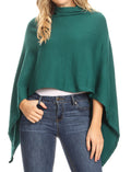 Sakkas Laurel Women's Super Soft Lightweight Cape Poncho Blanket Shawl Pullover#color_Dark Green