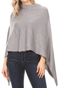 Sakkas Laurel Women's Super Soft Lightweight Cape Poncho Blanket Shawl Pullover#color_Gray