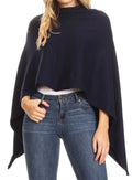 Sakkas Laurel Women's Super Soft Lightweight Cape Poncho Blanket Shawl Pullover#color_Navy