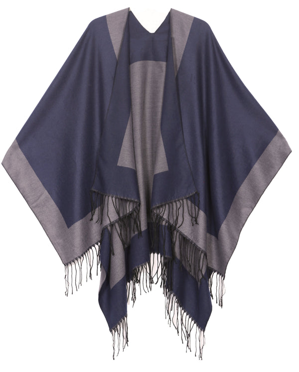 Sakkas Avi Women's Reversible Open Front Poncho Cardigan Ruana Cape Shawl W/Fringe#color_Border Blue