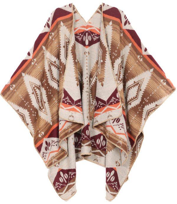 Sakkas Lupe Womens Reversible Poncho Wrap Cape Shawl Sweater Coat Cardigan Pattern#color_Aztec Brown