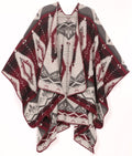 Sakkas Lupe Womens Reversible Poncho Wrap Cape Shawl Sweater Coat Cardigan Pattern#color_Aztec Burgundy