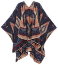Sakkas Lupe Womens Reversible Poncho Wrap Cape Shawl Sweater Coat Cardigan Pattern#color_Aztec Navy