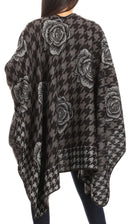 Sakkas Lupe Womens Reversible Poncho Wrap Cape Shawl Sweater Coat Cardigan Pattern