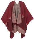 Sakkas Lupe Womens Reversible Poncho Wrap Cape Shawl Sweater Coat Cardigan Pattern#color_Heather Burgundy