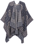 Sakkas Lupe Womens Reversible Poncho Wrap Cape Shawl Sweater Coat Cardigan Pattern#color_Houndstooth Gray