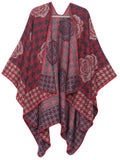 Sakkas Lupe Womens Reversible Poncho Wrap Cape Shawl Sweater Coat Cardigan Pattern#color_Houndstooth Red