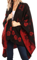 Sakkas Lupe Womens Reversible Poncho Wrap Cape Shawl Sweater Coat Cardigan Pattern#color_RoseRedBlack
