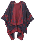 Sakkas Lupe Womens Reversible Poncho Wrap Cape Shawl Sweater Coat Cardigan Pattern#color_RoseRedTurq