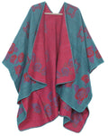 Sakkas Lupe Womens Reversible Poncho Wrap Cape Shawl Sweater Coat Cardigan Pattern#color_RoseRedBlue