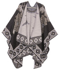 Sakkas Lupe Womens Reversible Poncho Wrap Cape Shawl Sweater Coat Cardigan Pattern#color_Tile Black