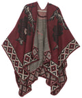 Sakkas Lupe Womens Reversible Poncho Wrap Cape Shawl Sweater Coat Cardigan Pattern#color_Tile Burgundy