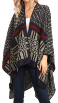 Sakkas Lupe Womens Reversible Poncho Wrap Cape Shawl Sweater Coat Cardigan Pattern#color_Zigzag Black
