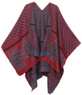 Sakkas Lupe Womens Reversible Poncho Wrap Cape Shawl Sweater Coat Cardigan Pattern#color_Zigzag Burgundy