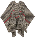 Sakkas Lupe Womens Reversible Poncho Wrap Cape Shawl Sweater Coat Cardigan Pattern#color_Zigzag Charcoal