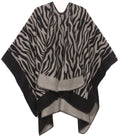 Sakkas Lupe Womens Reversible Poncho Wrap Cape Shawl Sweater Coat Cardigan Pattern#color_Zebra Gray