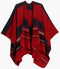 Sakkas Mari Women's Reversible Large Poncho Shawl Wrap Scarf Cape Ruana Blanket#color_Navy Red
