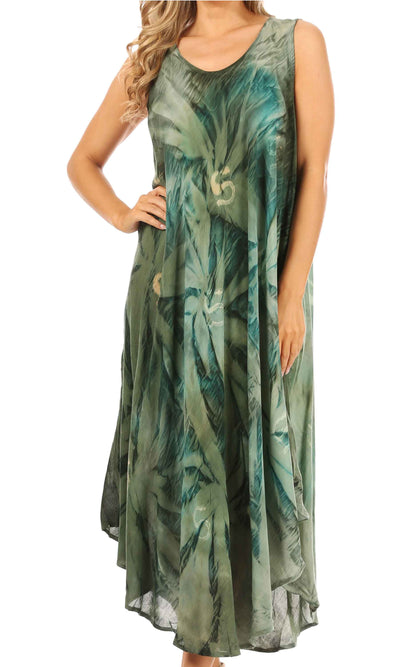 group-Avocado / Green (Sakkas Starlight Caftan Tank Dress / Cover Up)