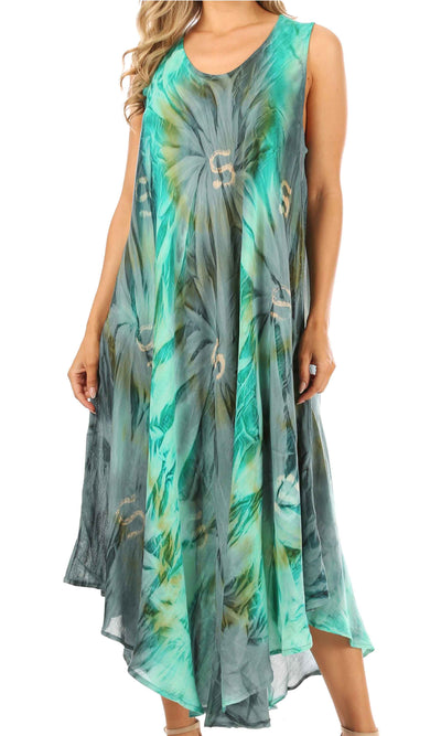 group-Green / Grey (Sakkas Starlight Caftan Tank Dress / Cover Up)