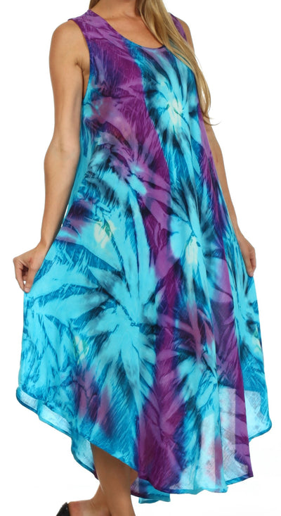 group-Turquoise / Purple (Sakkas Starlight Caftan Tank Dress / Cover Up)