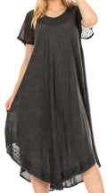 Sakkas Everyday Essentials Cap Sleeve Caftan Dress / Cover Up#color_1-Black