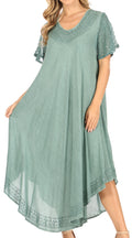 Sakkas Everyday Essentials Cap Sleeve Caftan Dress / Cover Up#color_Aqua