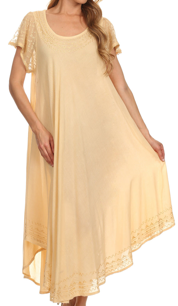 Sakkas Everyday Essentials Cap Sleeve Caftan Dress / Cover Up#color_Beige