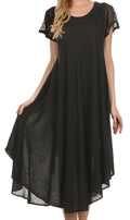 Sakkas Everyday Essentials Cap Sleeve Caftan Dress / Cover Up#color_Black
