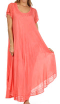 Sakkas Everyday Essentials Cap Sleeve Caftan Dress / Cover Up#color_Coral