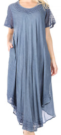 Sakkas Everyday Essentials Cap Sleeve Caftan Dress / Cover Up#color_Denim Blue