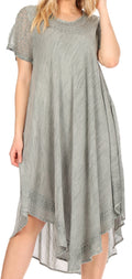 Sakkas Everyday Essentials Cap Sleeve Caftan Dress / Cover Up#color_Light Grey