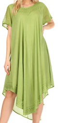 Sakkas Everyday Essentials Cap Sleeve Caftan Dress / Cover Up#color_Lime Green