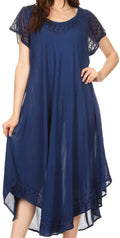 Sakkas Everyday Essentials Cap Sleeve Caftan Dress / Cover Up#color_Navy