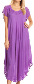Sakkas Everyday Essentials Cap Sleeve Caftan Dress / Cover Up#color_Purple
