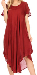 Sakkas Everyday Essentials Cap Sleeve Caftan Dress / Cover Up#color_Red