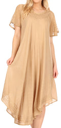 Sakkas Everyday Essentials Cap Sleeve Caftan Dress / Cover Up#color_Sand