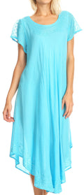 Sakkas Everyday Essentials Cap Sleeve Caftan Dress / Cover Up#color_Turquoise