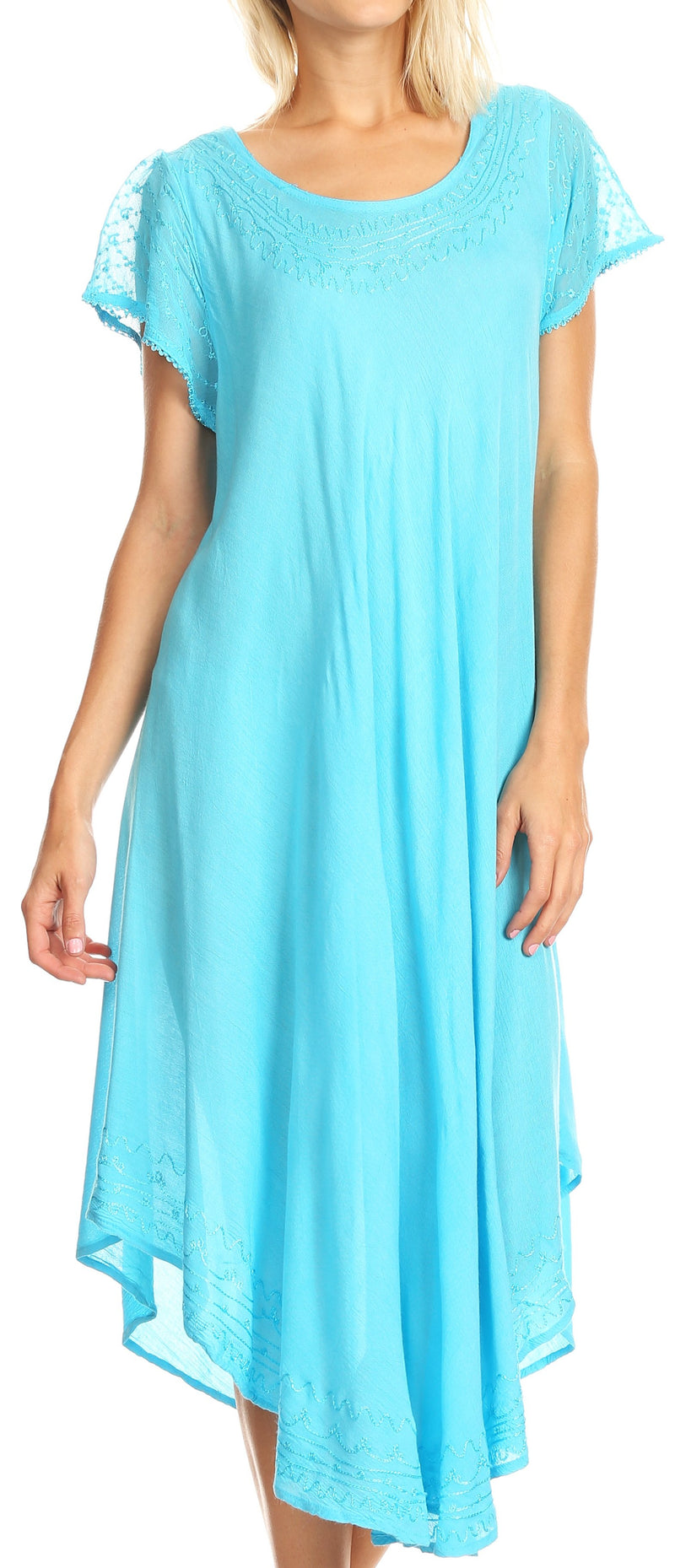 Sakkas Everyday Essentials Cap Sleeve Caftan Dress / Cover Up
