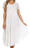 Sakkas Everyday Essentials Cap Sleeve Caftan Dress / Cover Up#color_White