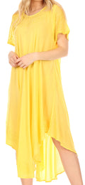 Sakkas Everyday Essentials Cap Sleeve Caftan Dress / Cover Up#color_Yellow