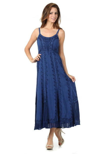 Sakkas Stonewashed Empire Waist Floral Vine Trumpet Crepe Inlay Ruffle Hem Dress