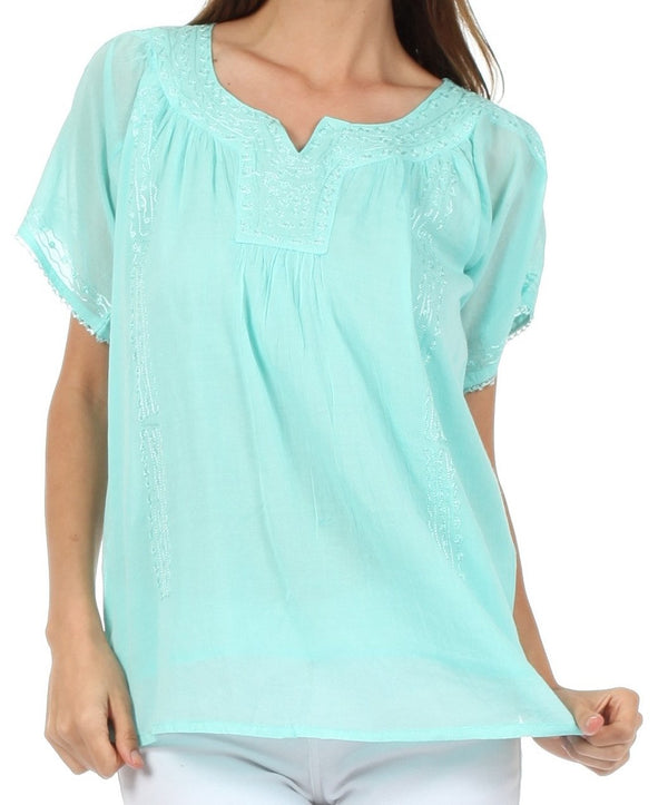 Sakkas Embroidered 100% Cotton Semi-Sheer Short Sleeve Gauzy Top / Blouse
