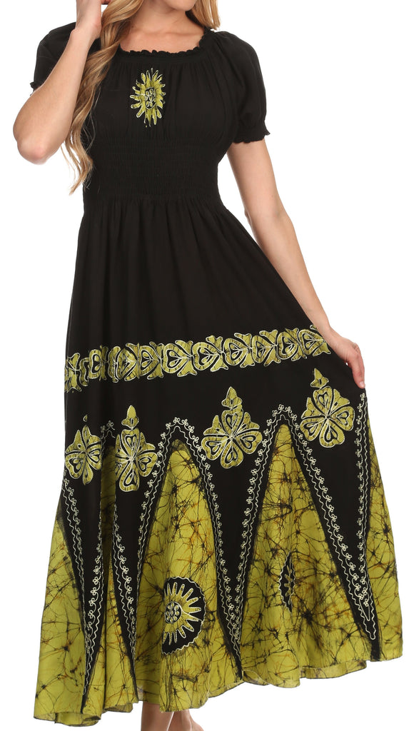Sakkas Batik Sunshine Peasant Dress