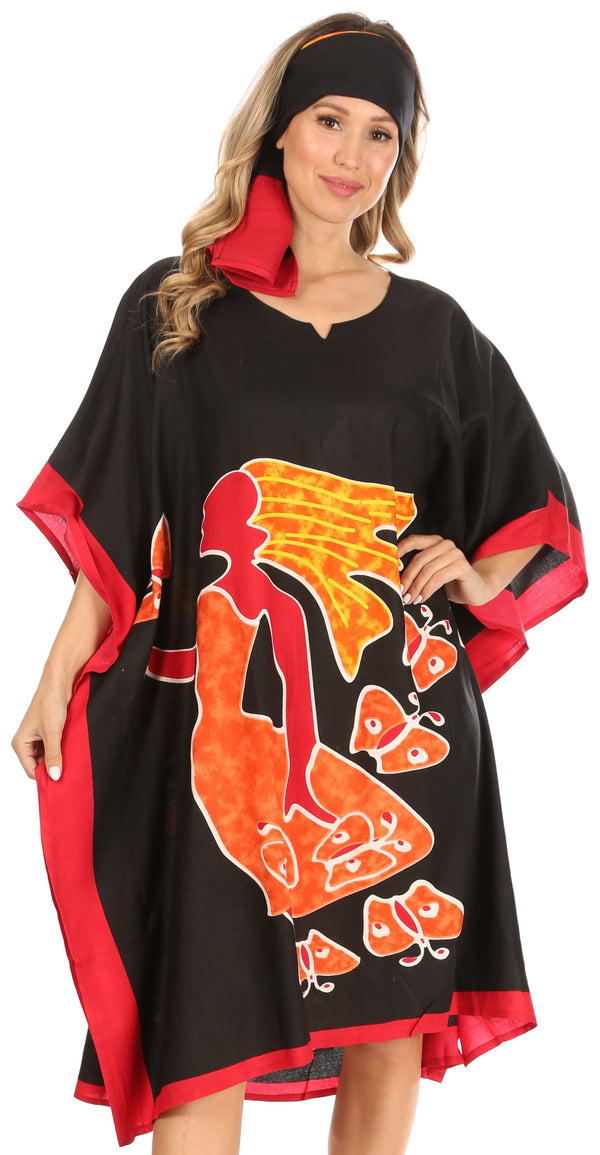 Sakkas Trina Women's Casual Loose Beach Poncho Caftan Dress Cover-up Many Print#color_1006-Black
